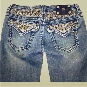 Miss Me straight Fleur de Lis design jeans